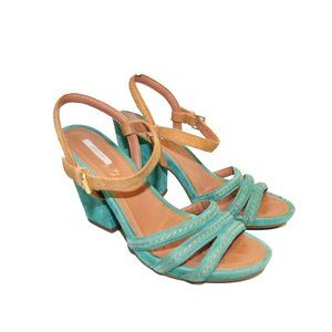 Geox D Divinity A Strappy Green Suede Sandal Heels